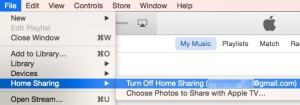 Turn Off Home Sharing in iTunes