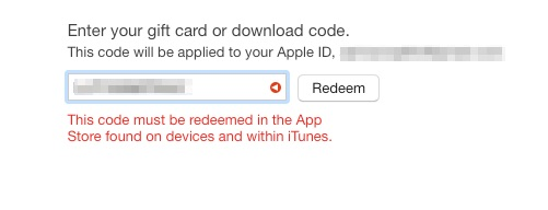 This code must be redeemed in the App Store found on devices
